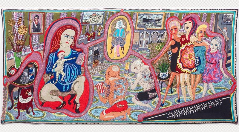 The Adoration of the Cage Fighters. NFS. Wool, cotton, acrylic, polyester and silk tapestry. 200 x 400cm. Courtesy the artist and Victoria Miro, London © Grayson Perry. From www.artfund.org