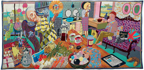 NFS. Wool, cotton, acrylic, polyester and silk tapestry. 200 x 400cm. Courtesy the artist and Victoria Miro, London © Grayson Perry. Photography © Stephen White. Royal Academy of Arts from the RA Image of the Day Pinterest.