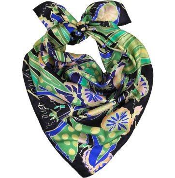 green blue hand painted silk scarf