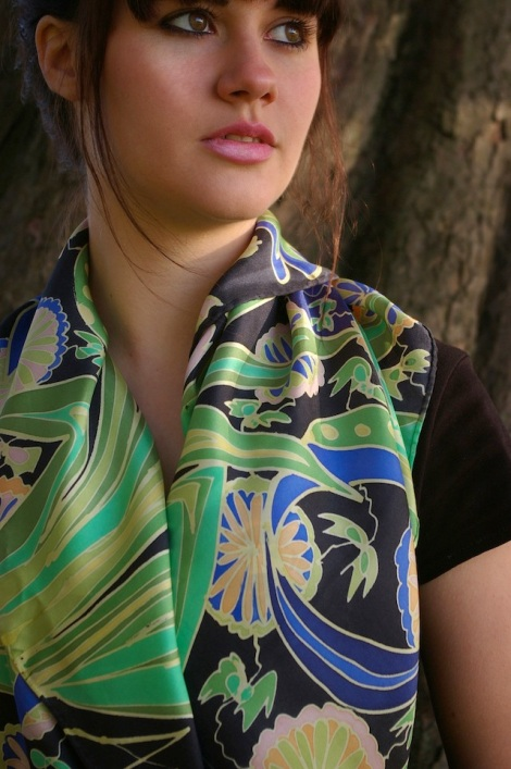green blue hand painted silk scarf modelled