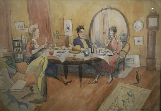 Conversation at Breakfast - D Hughes Watercolour (34 x 45 cm)